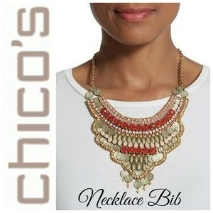 🆕 CHICOS CORAL & SHERBERT BIB NECKLACE